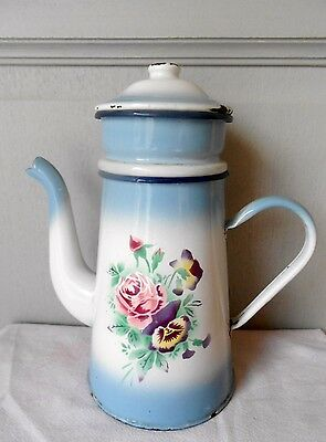 ANTIQUE French ENAMELWARE Floral COFFEE POT w/ ROSES and PENSEAS