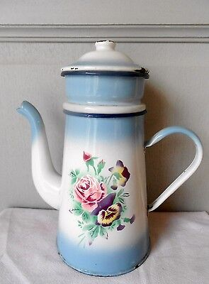 ANTIQUE Superb French ENAMELWARE Floral COFFEE POT w/ ROSES and PENSEAS