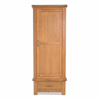 Tuscany solid oak bedroom furniture single wardrobe with drawer