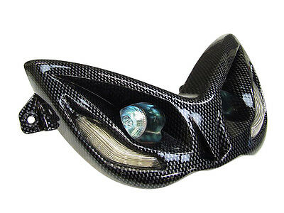 Carbon effect headlight unit with amber LEDs for Yamaha Aerox