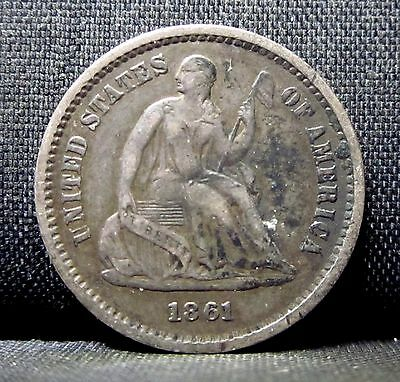 1861-P Seated 1/2 Half Dime ✪ Xf Extra Fine ✪ L@@k Now Type Scarce ◢Trusted◣
