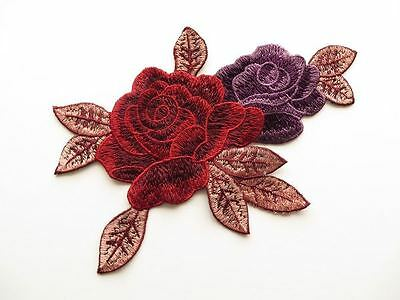 Guipure lace embroidered applique / patch lilac, pink, burgundy