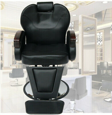 Wooden Arm Barber Chair Salon Hydraulic Reclining Hairdressing Threading Shaving
