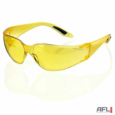 Wraparound Yellow Lens Safety Glasses - Impact & Scratch Resistant UV Protection