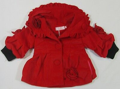 Childrens Girls Red Cotton Winter Clothes Long Frilly Jacket Coat Outerwear