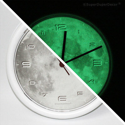 GLOW IN THE DARK REAL MOON WALL CLOCK with numbers boys girls kids bedroom space