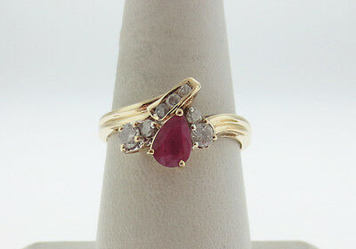 Estate Natural Pear Red Ruby Diamonds Solid 14K Yellow Gold Ring FREE SIZING