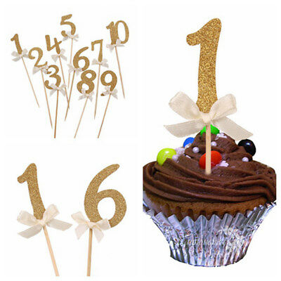 10PCS Number Cupcake Topper Birthday Decor Kids Party Favors Anniversary Picks