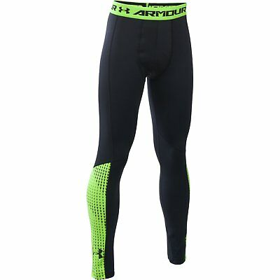 Boy's Under Armour ColdGear Armour Up Leggings Black/Fuel Green