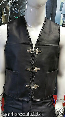 New Motorcycle/motorbike Cowhide Milled Climax Lined Biker Style Waistcoat/ Vest