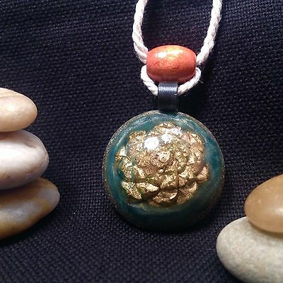 Orgonite Necklace/Pendant-Crystal Healing Energy Device-Gold Pineal PineCone-265