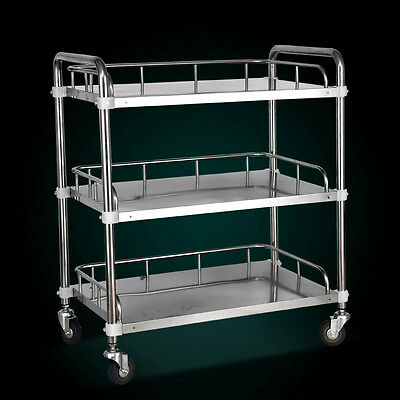 Stainless Steel Portable Three Layers Serving Medical Dental Lab Cart Trolley
