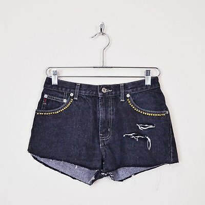 Vintage 80s 90s Grunge Guess Black Studded High Waist Cut Off Mini Jean Shorts M
