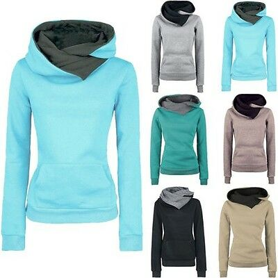 Mode Femme Sweat Capuche Manches Longues Pull Sweatshirt Manteau Pull-over