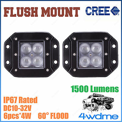 Pair 16W CREE FLUSH Mount LED Light FLOOD Beam Offroad Work 4WD Truck Trailer