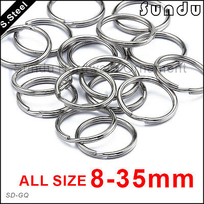 8-35mm Stainless Steel Split Key Ring Fishing Solid Double Wire Jump Chain Hook