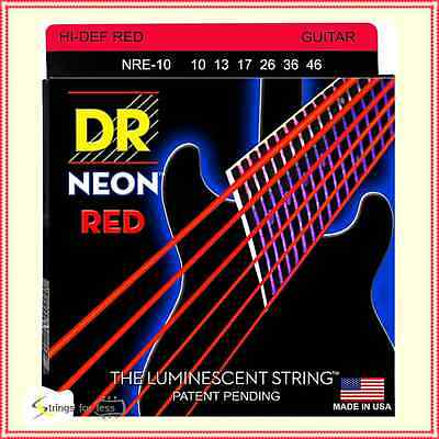 DR Strings Hi-Def NEON Red Coated Medium 10 - 46 Electric Guitar Strings