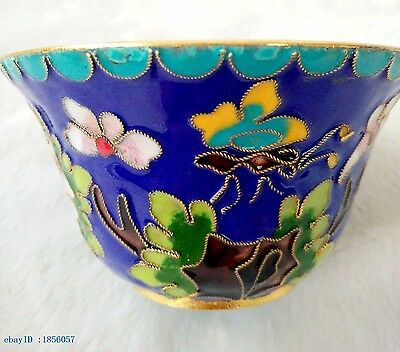100mm / collection Chinese Cloisonne hand carved flower pattern bowl