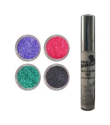 HALLOWEEN GLITTER LIPS PACK for Halloween Make-Up - 4 Glitters and LipBond