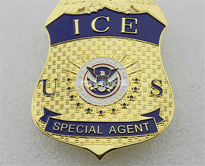 US ICE Homeland Security Special Agent Badges Gold Cosplay Halloween Badges
