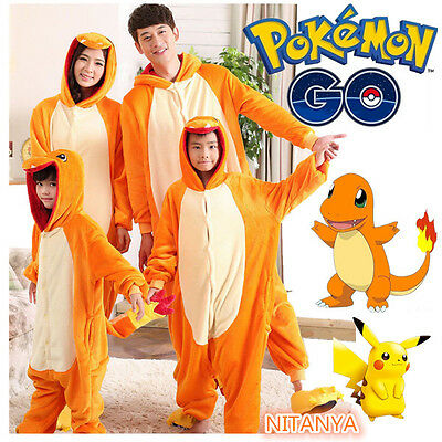 Animal Onesie Pokemon Charmander Kigurumi Cosplay Costume Pajamas.Adult·AND Kids