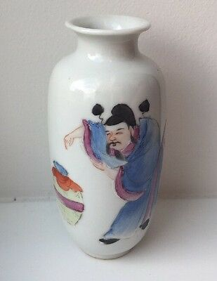 Antique Chinese Porcelain Republic Period Famille Rose Bottle Vase