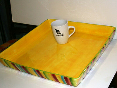 17.5x17.5in extra large ceramic tray hand painted art pottery American Atelier