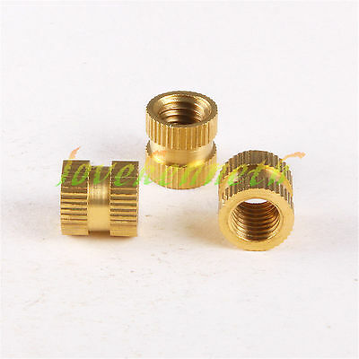 25/50/100pcs M6 Brass Knurled Insert Nut Copper Round Embedded Fastener Nuts