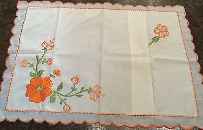 Vintage Chrocheted and Embroidered Flowers Orange White Pillow Case Single