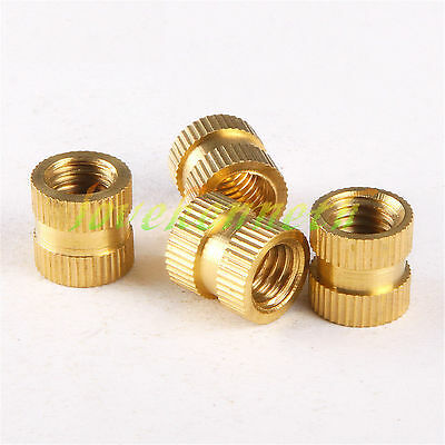 25/50/100pcs M8 Brass Knurled Insert Nut Copper Round Embedded Fastener Nuts