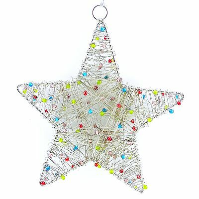 HOLIDAY CHRISTMAS TIME Tree Ornament Silver Star Hanging Fireplace ...