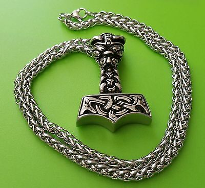 Stainless Steel Viking Mjölnir Thor's Hammer Pendant Necklace on chain