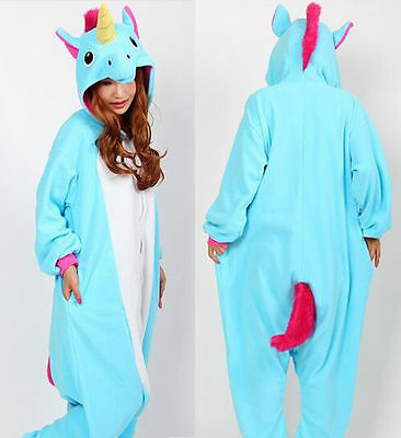 Onesie Tenma Unicorn Kigurumi Pajamas Animal Cosplay Costume Unisex Adult Blue
