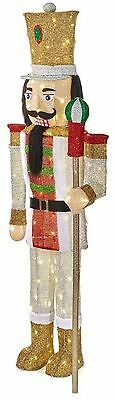 LED Lighted Tinsel Nutcracker Scepter Giant Christmas Indoor Decor 65 Inches