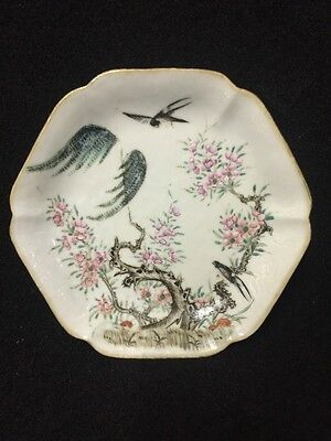 Chinese Antique 19th Century Famille Decorated  Dish With Iron Red Seal