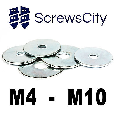 Penny / Repair Mudguard Washers Zinc For Bolts & Screws M4 M5 M6 M8 M10