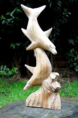 Wooden Carved Figure Dolphins 30 cm on Natural Colour or Brown Colour Handmade