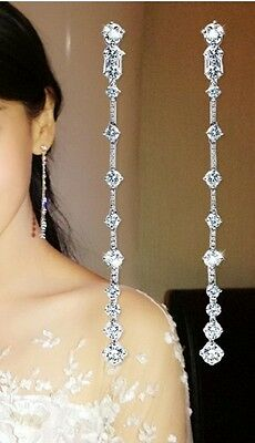 925 Sterling Silver Crystal Rhinestone Diamante Long Dangle Drop Earrings Bridal