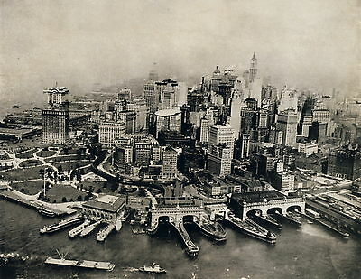 Antique Old Vintage Print NYC Aerial View New York Manhattan Skyscrapper Harbour