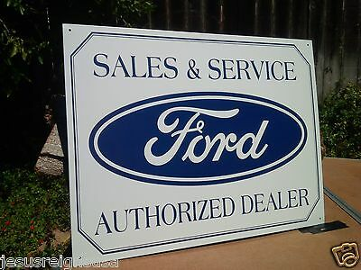 FORD AUTHORIZED SALES DEALER  Rustic Collectible Tin Metal Classic Sign Poster