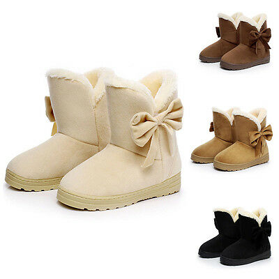 Bowknot Warm Womens Flats Shoes Snow Women Boots Autumn Winter Shoes Fashion New