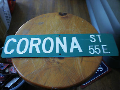 """Corona St 55E. Heavy Metal Street Beer Sign Good Condition 24"""" By 6"""""""