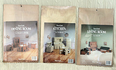 New DuraCraft Miniature Doll House Wood Furniture Kit Kitchen Dining Living Room