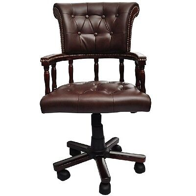 Leather Office Swivel Chair Brown Chesterfield Executive Armchair Business Seat