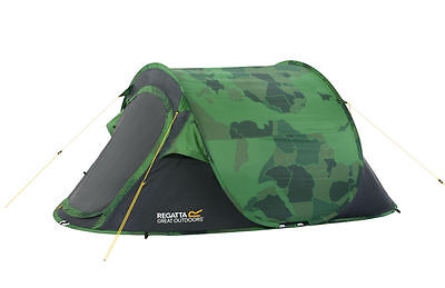 Regatta 2 Man Malawi Outdoor Pop-Up Tent with Pattern Green