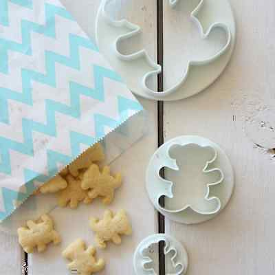 3x Tiny Teddy bear cookie biscuit cutter pastry fondant icing mould shape