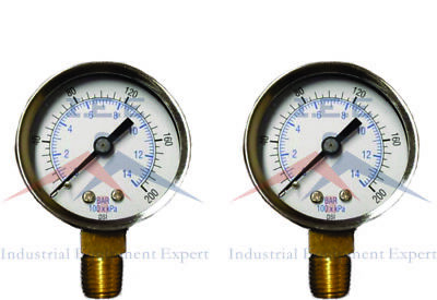 "2 Air Compressor Pressure/Hydraulic Gauge 1.5 Face Side Mount 1/8"" NPT 0-200 PSI"