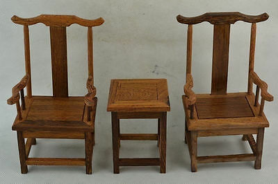 Collectible Old Decorated Wonderful Hand Boxwood Carving A Set Of Chair & Table