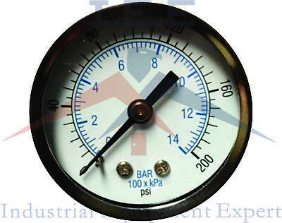 "Air Compressor Pressure / Hydraulic Gauge 1.5 Face Back Mount 1/8"" NPT 0-200 PSI"