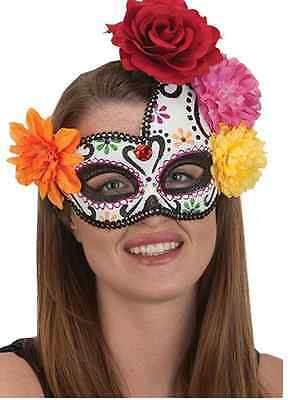 Day of the Dead Skull Mask Floral Paper Mache  HALLOWEEN Accessory Costume Prop